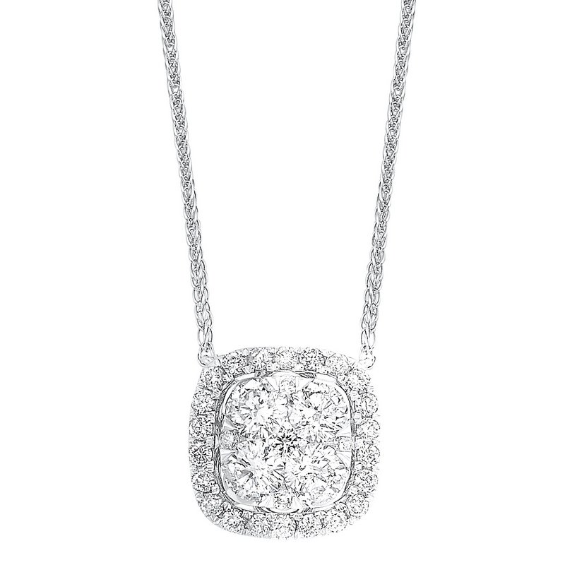 Gems One Diamond Cushion Cluster Halo Pendant Necklace in 14k White Gold (1/3 ctw)