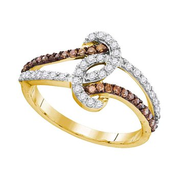 10kt Yellow Gold Womens Round Brown Color Enhanced Diamond Strand Band Ring 1/2 Cttw