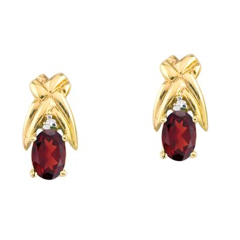 14k Yellow Gold 6x4 mm Garnet and Diamond Oval Shaped Earrings
