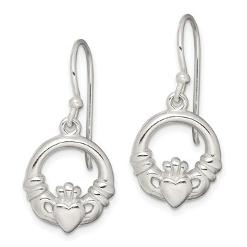 Sterling Silver Claddagh Dangle Earrings