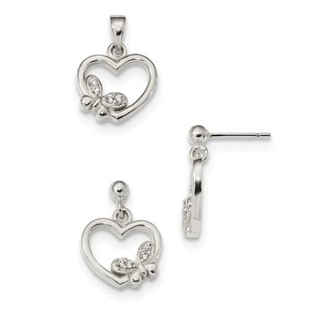 Sterling Silver Polished CZ Heart Butterfly Pendant & Earring Set