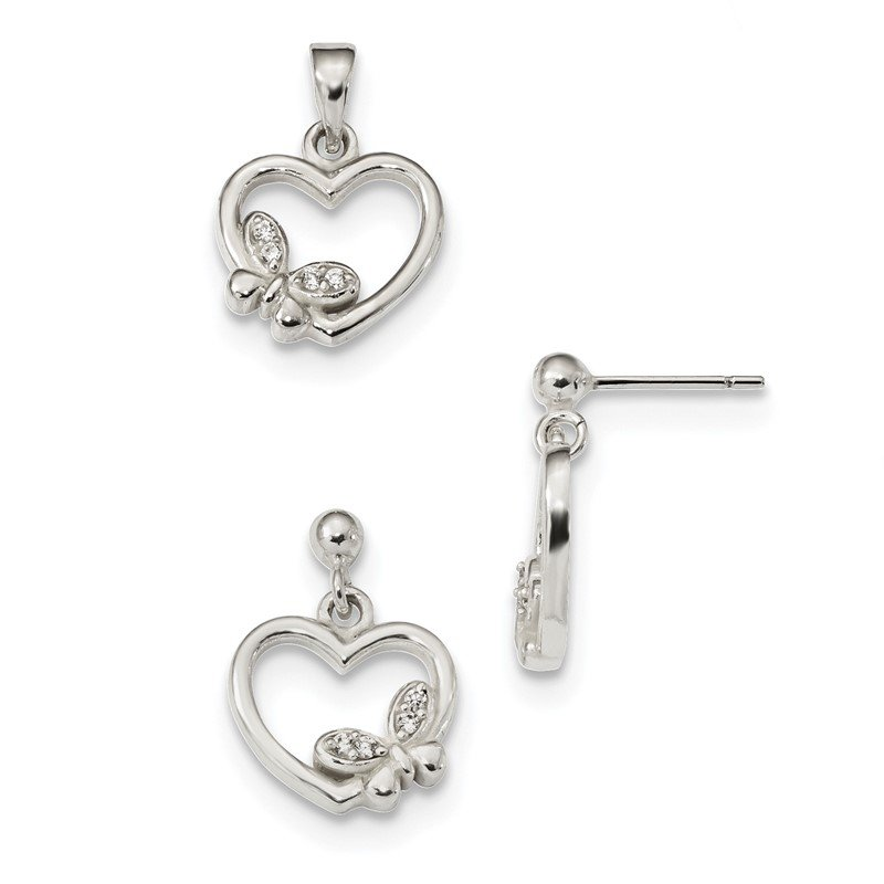 Quality Gold Sterling Silver Polished CZ Heart Butterfly Pendant & Earring Set