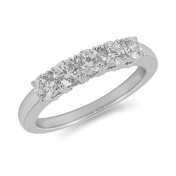 14K WG Diamond 5-Stone Four-Prong Band