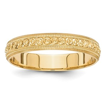 14k 3mm Design Etched Wedding Band