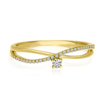 14k Yellow Gold Stackable Diamond Bypass Ring