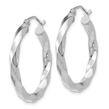 14k White Gold 3mm Twisted Hoop Earrings