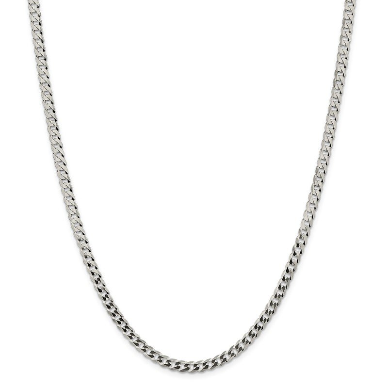 Quality Gold Sterling Silver 4.5mm Flat Curb Chain