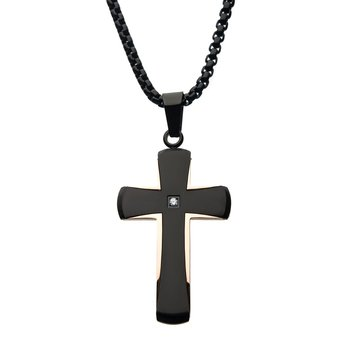 Steel Brushed Rose Gold Plated and Black Plated with Clear Gem Cross Pendant with Black Bold Box Chain