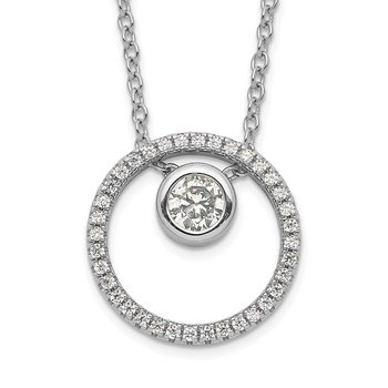 Sterling Silver RH-plated CZ Circle w/1in. Ext. Necklace