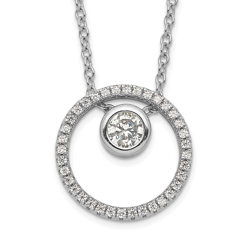 Quality Gold Sterling Silver RH-plated CZ Circle w/1in. Ext. Necklace