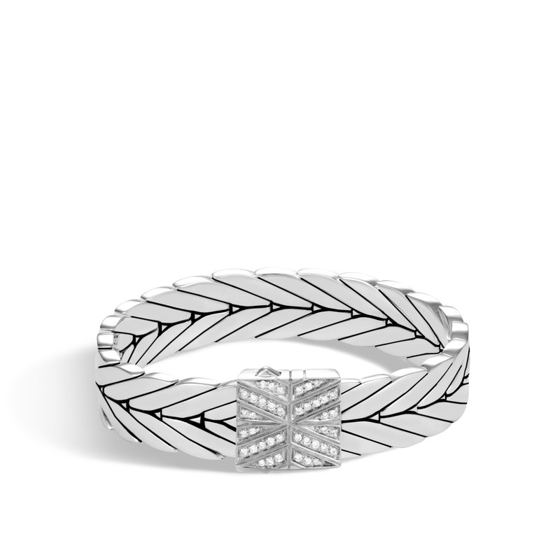 John Hardy Modern Chain 13MM Bracelet in Silver with Diamonds
