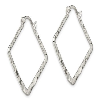 Sterling Silver Hammered Polished Fancy Square Hoop Earrings