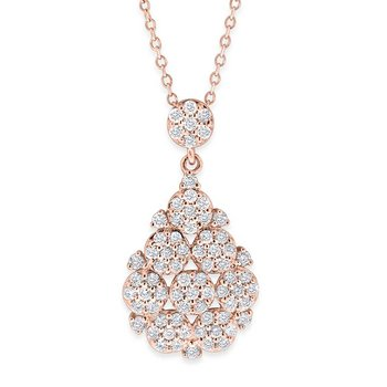 Diamond Floral Teardrop Necklace in 14K Rose Gold with 71 Diamonds Weighing  .62ct tw