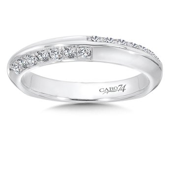 Prong and Channel Set Diamond Wedding Band in 14K White Gold