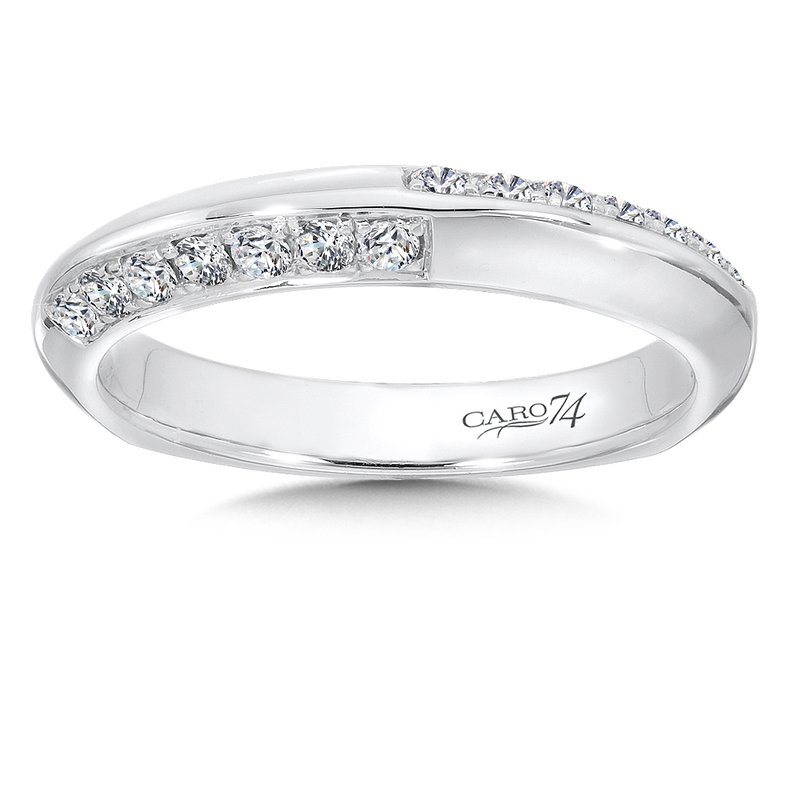 Caro74 Prong and Channel Set Diamond Wedding Band in 14K White Gold