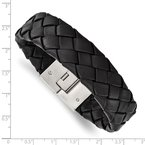 Chisel Stainless Steel Brushed Black Leather 8.5 in Bracelet