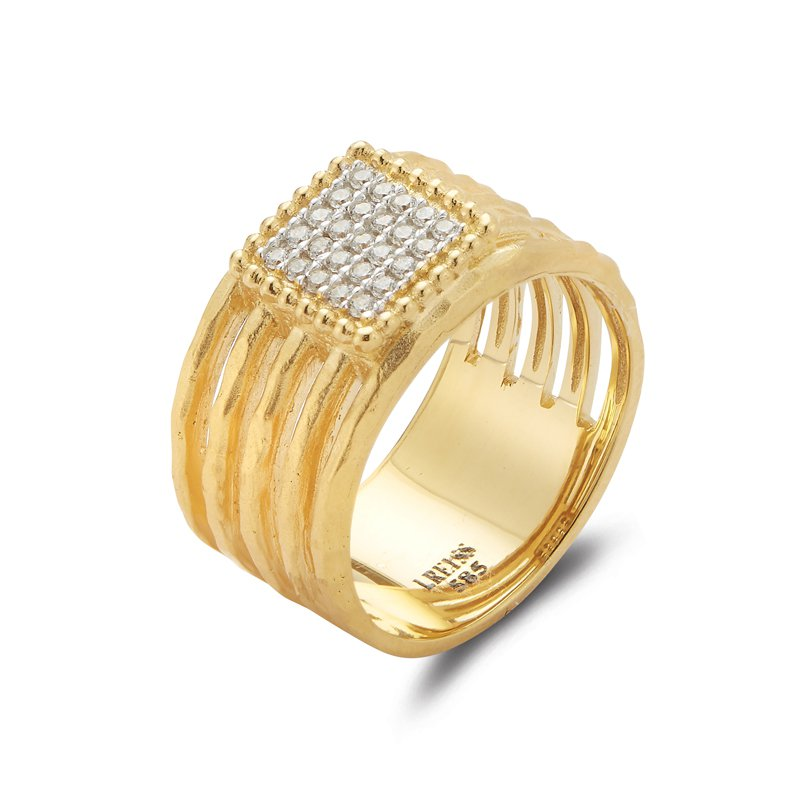 I. Reiss 14K-Y SQ. MOTIF CUT-OUT RING, 0.15CT