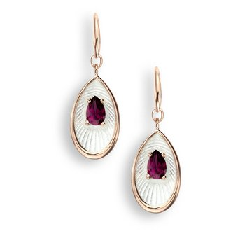 White Teardrop Wire Earrings.Rose Gold Plated Sterling Silver-Rhodolite