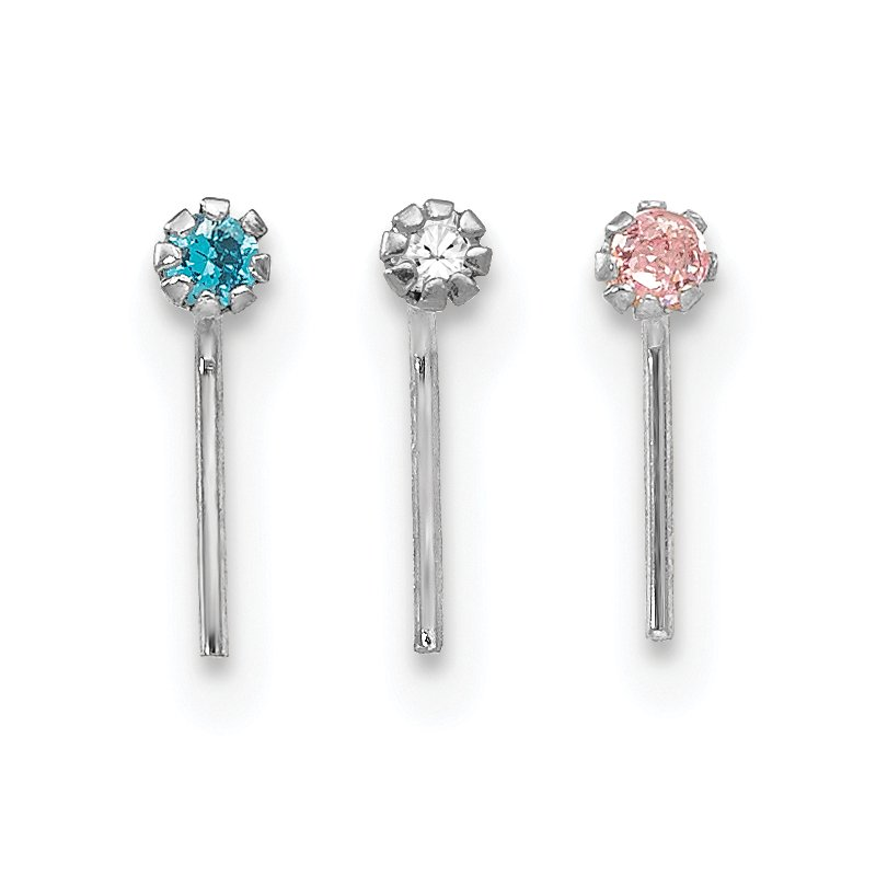 Arizona Diamond Center Collection 10k White Gold 1.5mm Set Of 3 Nose Studs