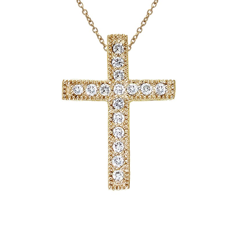 Color Merchants 14K Yellow Gold .16 Ct Scroll Diamond Cross Pendant