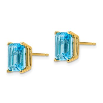14k 9x7mm Emerald Cut Blue Topaz Earrings