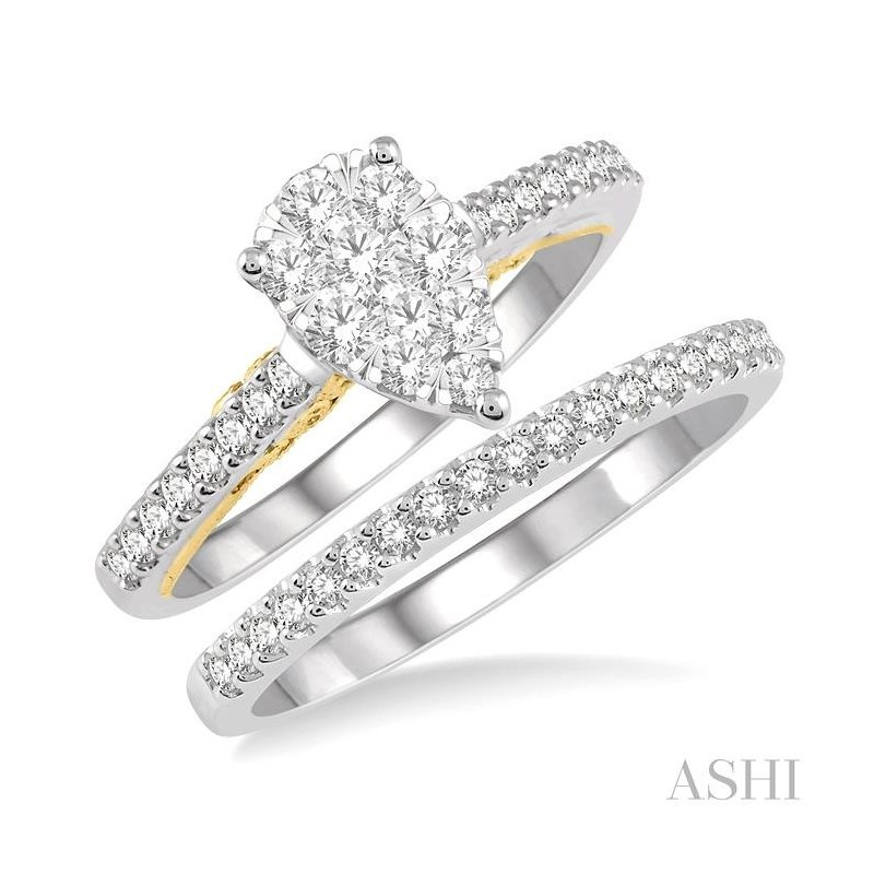 ASHI pear shape lovebright bridal diamond wedding set