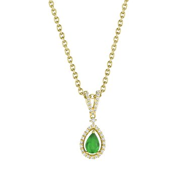Pear Shape Emerald and Diamond Pendant