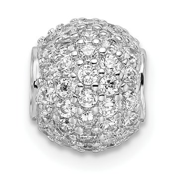Sterling Silver Rhodium-plated CZ Bead Pendant