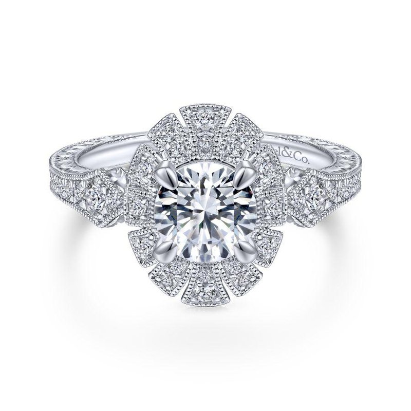 Gabriel Bridal Bestsellers Unique 14K White Gold Art Deco Halo Engagement Ring
