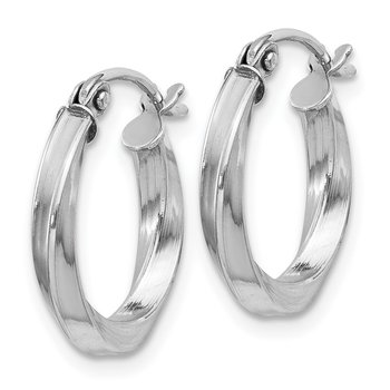 Sterling Silver Rhodium-plated Twisted 2.5x15mmHoop Earrings