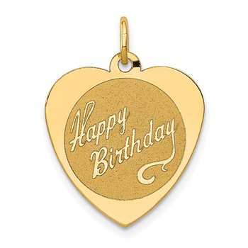 14k HAPPY BIRTHDAY Heart Disc Charm