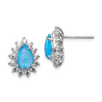 Cheryl M SS CZ & Lab Created Blue Opal Stud Earrings