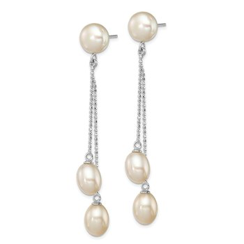 Sterling Silver Rh-plated 6-9mm White FWC 3-Pearl Post Dangle Earrings