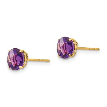 14k Madi K Round Amethyst 6mm Post Earrings