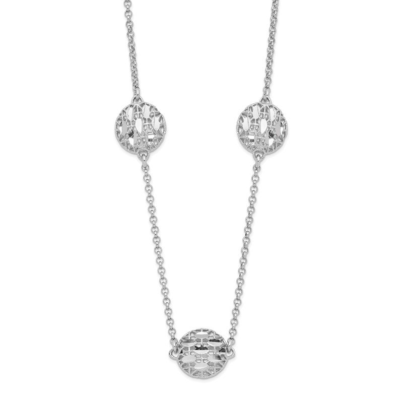 J.F. Kruse Signature Collection Sterling Silver Rhodium-plated D/C Mesh Bead w/2in. Ext. Necklace