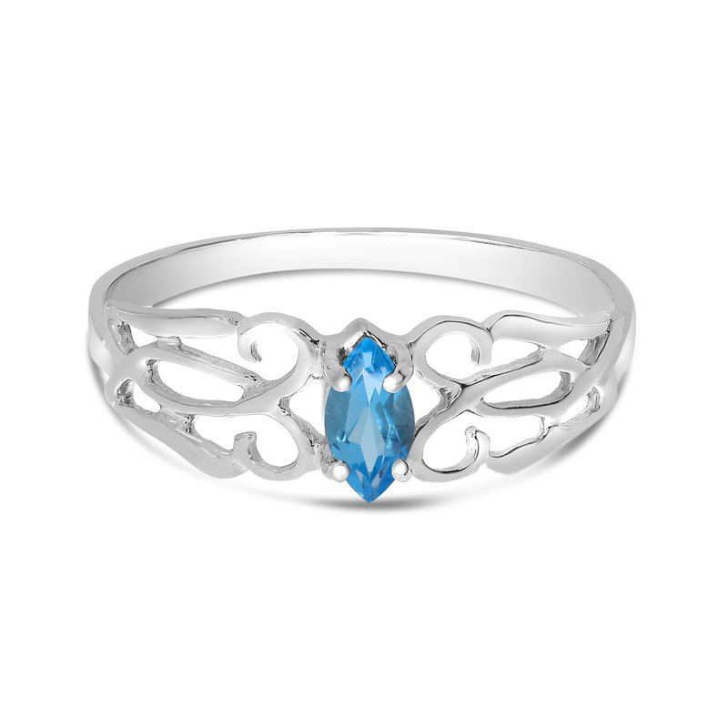 Color Merchants 14k White Gold Marquise Blue Topaz Filagree Ring