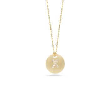 18Kt Gold Disc Pendant With Diamond Initial X