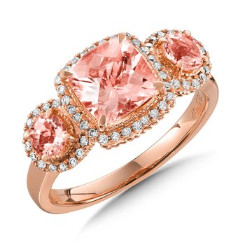 Morganite 3-Stone Ring with Diamonds in 14K Rose Gold