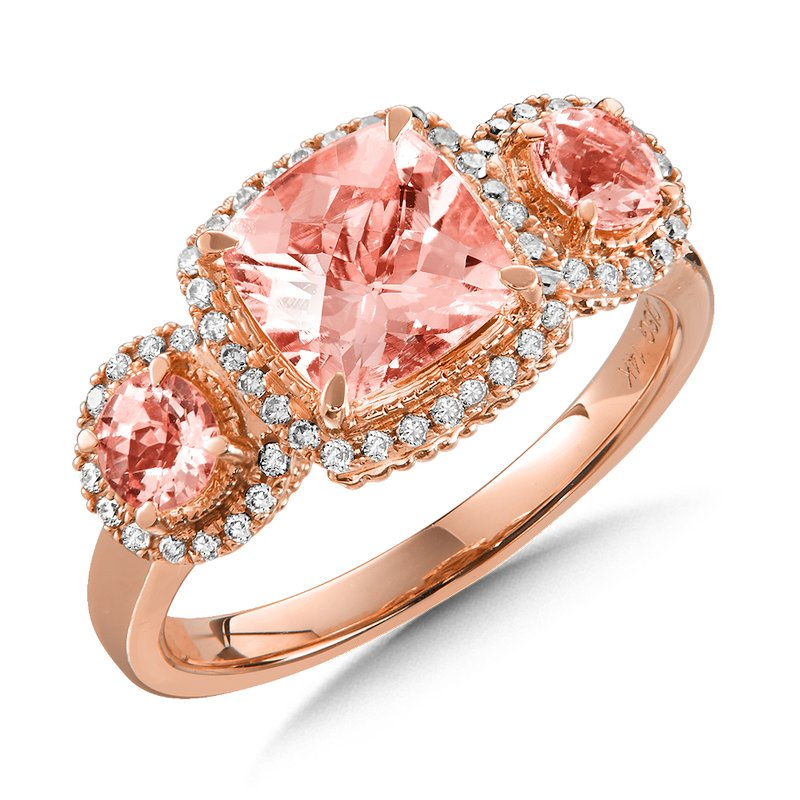 Colore Oro Morganite 3-Stone Ring with Diamonds in 14K Rose Gold