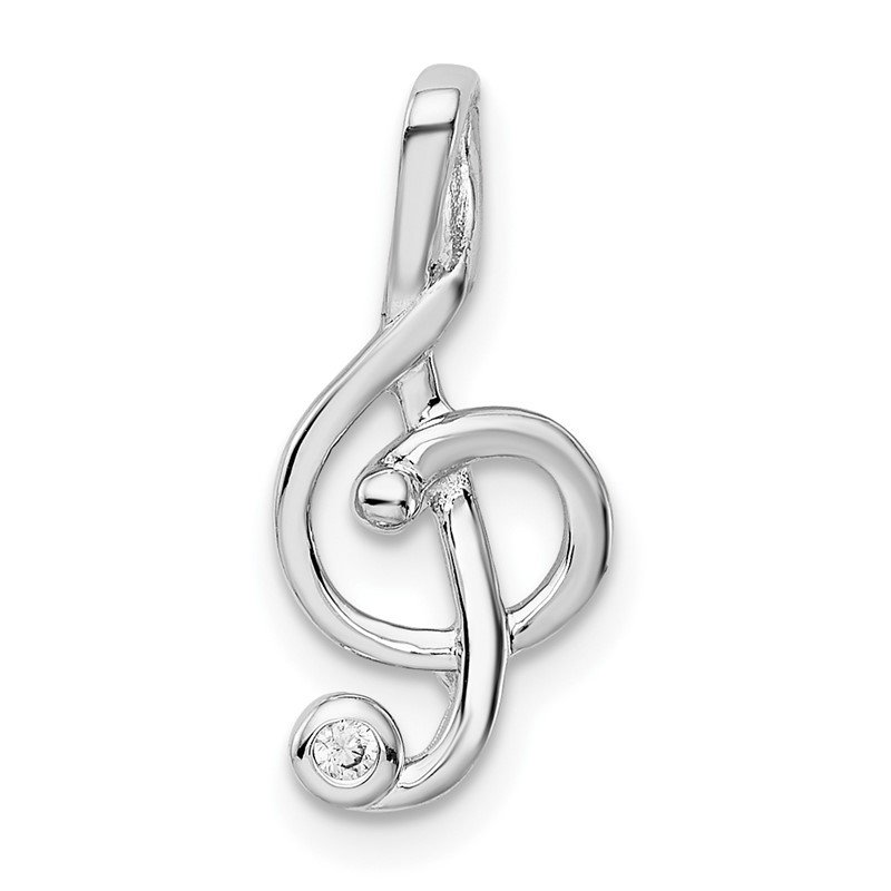 Quality Gold Sterling Silver Rhodium-plated CZ Treble Clef Slide