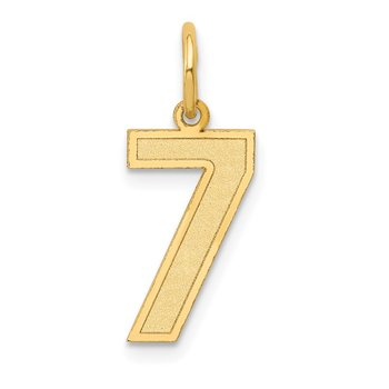 14k Medium Satin Number 7 Charm