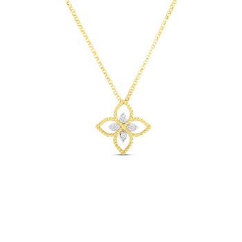 18K PRINCIPESSA SMALL FLOWER PENDANT W. DIAMOND