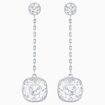 Lattitude Chain Pierced Earrings, White, Rhodium plated
