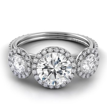 Per Lei Single Shank 3 Stone Engagement Ring