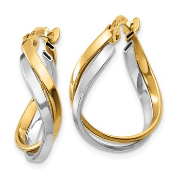 14K Two-Tone Polished Twisted Hoop Earrings