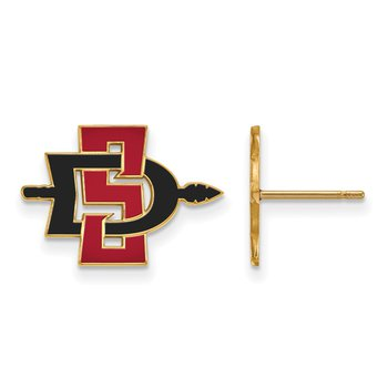 Gold-Plated Sterling Silver San Diego State University NCAA Earrings