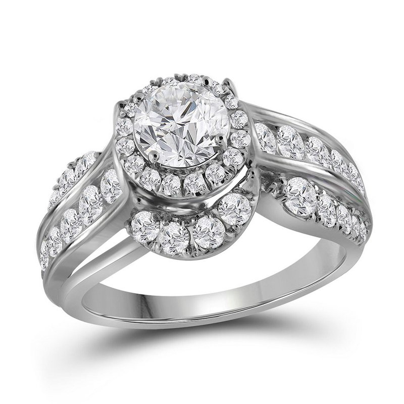 Gold-N-Diamonds, Inc. (Atlanta) 14kt White Gold Womens Round Diamond Solitaire Bridal Wedding Engagement Ring 2.00 Cttw