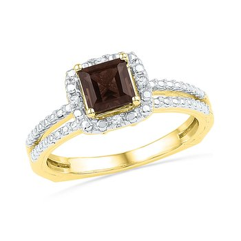 10kt Yellow Gold Womens Princess Lab-Created Smoky Quartz Solitaire Ring 3/4 Cttw