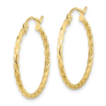10k Twist Polished Hoop Earring