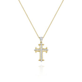 14K Gold and Diamond Cross Pendant